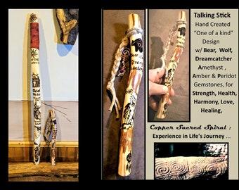 Talking stick -  tribal gift - tribal talking stick  - teacher gift - ,Group talk -  hiking stick, - retirement gift,recognition gift