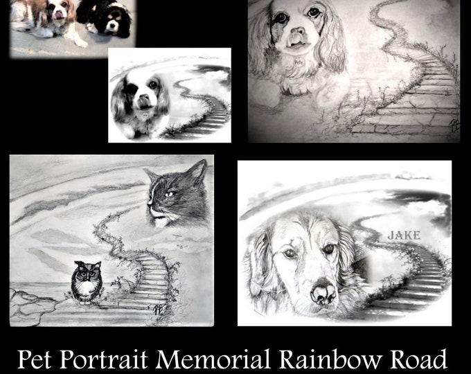 pet memorial - rainbow road - pet portraits - pet lovers - pet drawings - mother gift - wife gift ,dog lover gift -  Golden Retriever