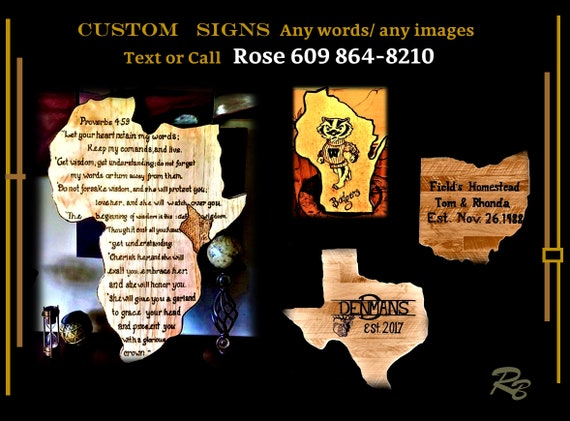 state sign, country, custom, wood,  personalized, gift, ANY Words, Artistic Creations by Rose
