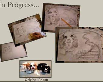 Memorial,Pet Memorial portrait, Rainbow Bridge, pet portrait, wife gift, mother gift, grandmother gift,husband gift,father gift