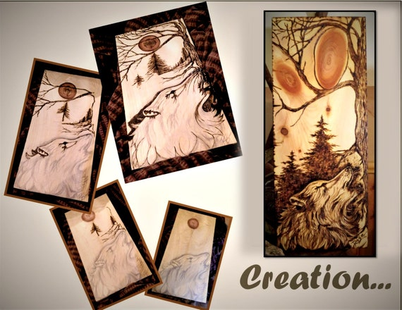 Original art, wood burned, wolf art, wolves - cabin decor, lodge decor,