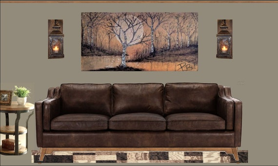 birch tree art, Large Art,  4',  Original,  painting - birch trees, painting,Cabin Decor,Lodge Decor,,woodland, rustic,