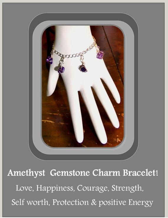 Charm Bracelet, Love Bracelet, Febuary Birthstone Bracelet, Sobriety Bracelet, Good Fortune Jewelry, Gemstone Jewlery, Healing jewelry
