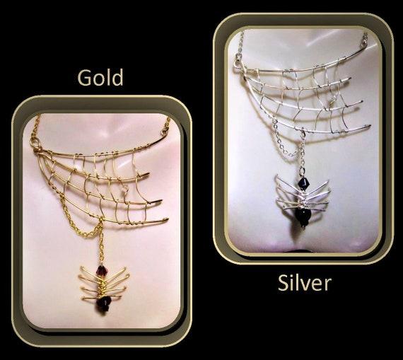 Halloween jewelry,spider jewelry, spider web jewelry, biker jewelry, orb weaver, spider web necklace, gothic jewelry,  spider necklace, webs