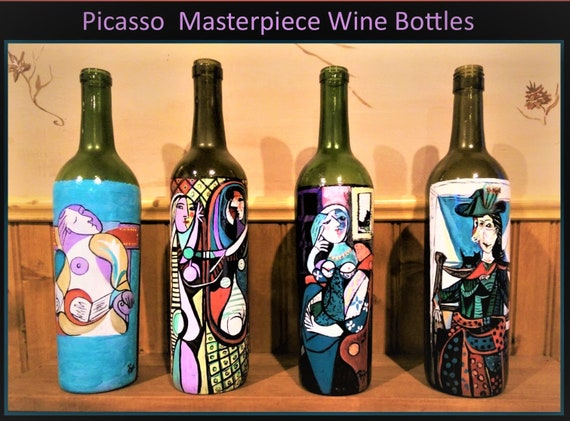 Fine Art, Wine bottles painted, Rockdale Arts District, Rose Barnes,  local Artist,  Aston PA, Artist, starry night, Picasso,van gogh