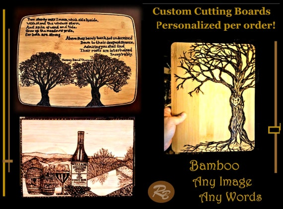 Custom, Cutting Board, Any words, Any images, wood burned, Wedding gift, Bamboo cutting board, personalized, wood,  five year,anniversary