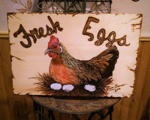 Fresh Eggs sign,, chicken lovers gift, chicken art, Kitchen decor,barred rock,  rooster, chicken decor, Rooster, Chicken coop sign