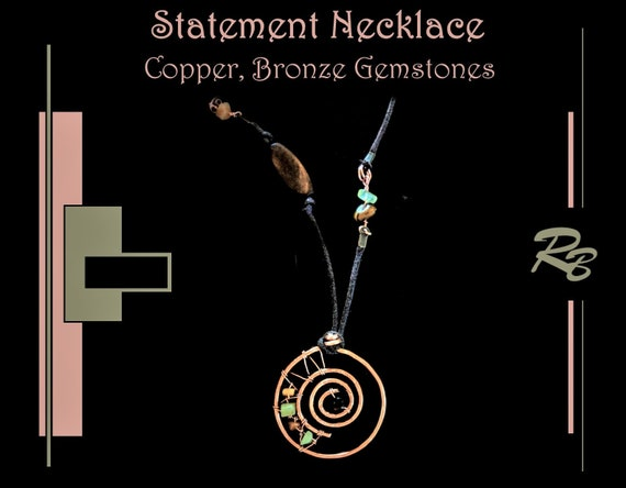 Wife gift, Sacred spiral, Copper, healing, jewelry, High Fashion High Fashion, Art jewelry, STATEMENT, necklace,  Jewelry, fashion jewelry