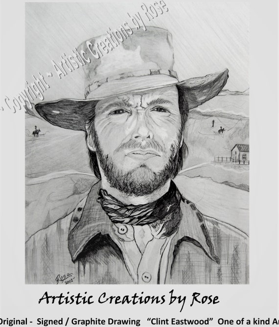 Clint Eastwood, Rose Barnes, Rockdale Arts District, Local Artist, Original art, Beatles, Fan Art, Fiona Hippo -  Fiona Fan Art -   art