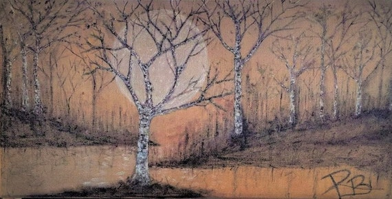Original - art - 4' painting - birch trees, painting, birch tree art, Large Art - Cabin Decor,Lodge Decor,,woodland, rustic,