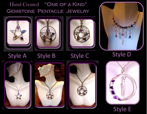 pentagram - five elements - wicca - Healing jewelry, Amethyst jewelry,crystal healing,Amethyst Healing,wicca jewelry,wiccan,crystal wand