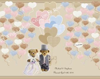 paper anniversary gift - Teddy Bear Wedding, wedding book option,  wedding guest book,   guest book,  wedding book ideas,