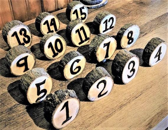 rustic wedding - tree slice table numbers, wedding, table numbers, wedding table numbers -