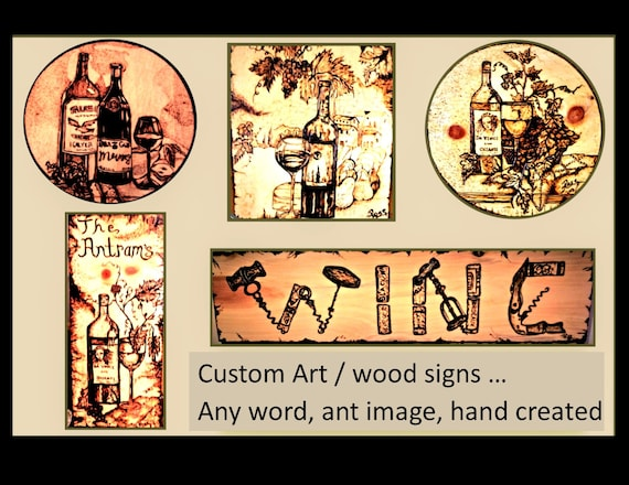 wine, art, wood anniversary gift, five year anniversary, wife gift, husband gift, Sign.Art,Wood burned, plaques, boyfriend gift,brother gift