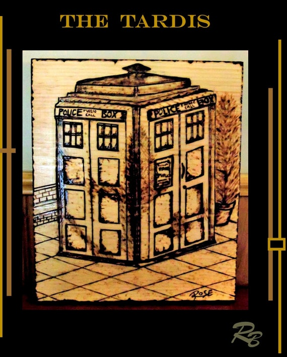 Dr Who Tardis, tardis, Geek gift, Schrodingers cat, Gandalf, middle earth,gift,Sci Fi Art,  wood burned art, pyrography