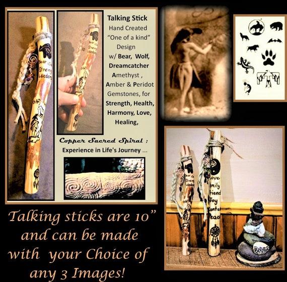 Shamanic, Talking stick - praye stick, family communication - group talk, hiking stick -wood anniversary gift,retirement gift,wood cane