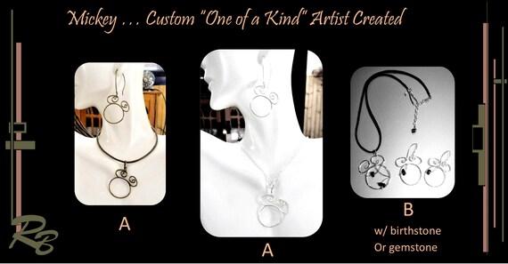Disney, jewelry, Mickey, necklace, birthstone jewelry - Wife gift - Mother gift - Family birthstone jewelry,mother jewelry,Grandmother gift,
