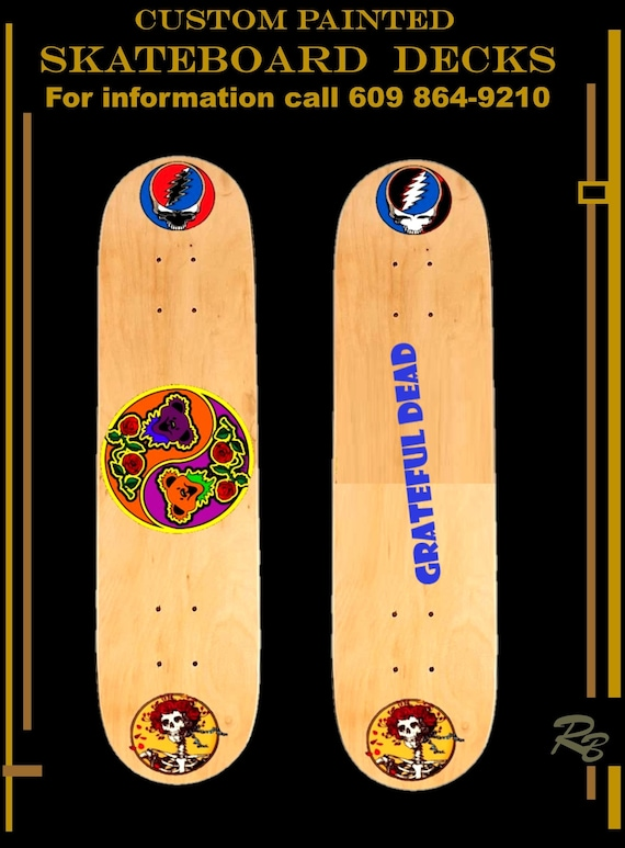 grateful dead, skate board, deck, custom, painted, designed, skateboard, hand painted, girlfriend gift, boyfriend gift