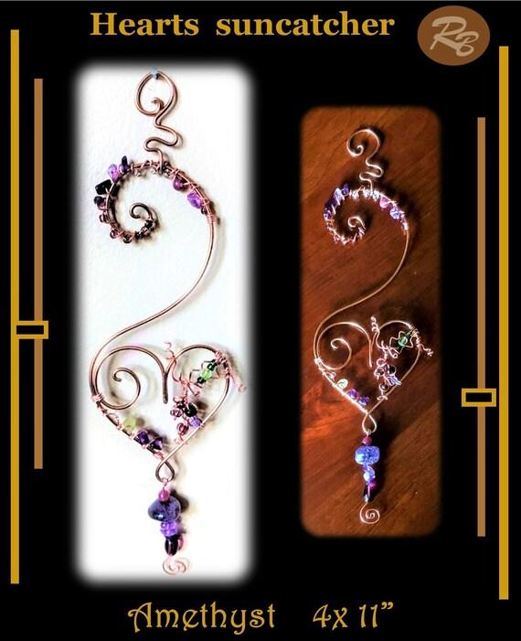 Amethyst, Heart, Suncatcher, Mother, gift, Grandmother, window,Sun catcher,  hanging,  garden,decorations,gemstones,accessories