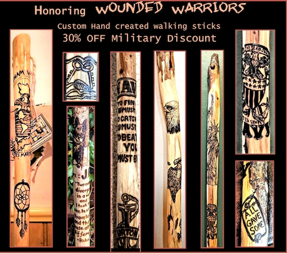 Military Discount, Disabled Veteran, Wounded Warrior, walking stick, Rehabilitation, walking help, cane, Retirement gift, Recognition