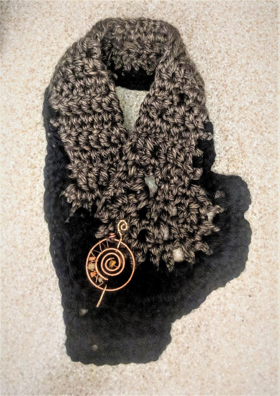 Neck scarf, scarf, necklace, crochet, necklace scarf, Artistic Creations by Rose, Music pin, Brooch,  Shaw Pin, Scarf Pin, Sweater Pin