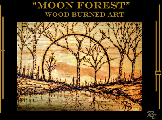 Forest, Moon, Tree, Art, rustic, cabin,romatic gifts, gift for the couple, weeping willow tree,