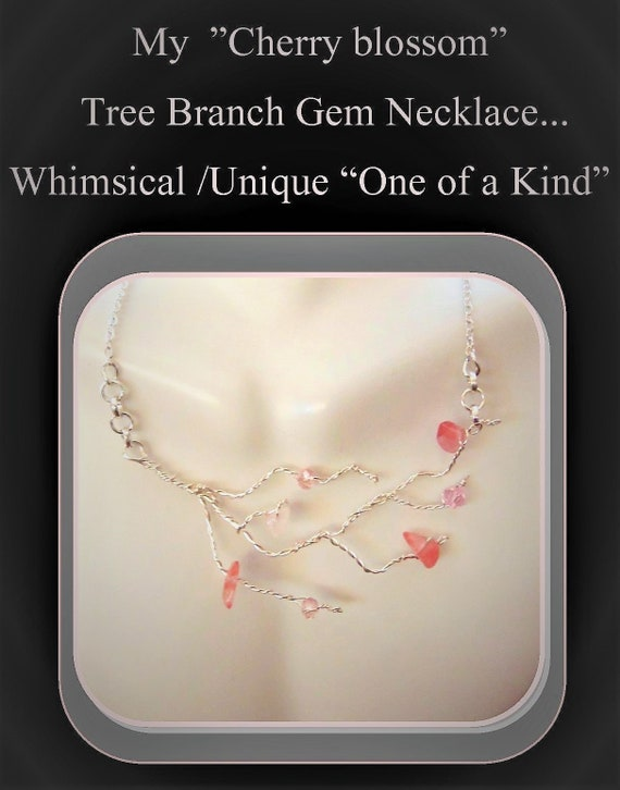 Cherry blossom, Abstract, tree of life, Spring jewelry,Mother gift,wife gift,Zen,gemstones,Statement. nature jewelry