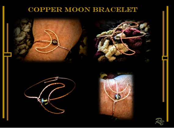 Moon Bracelet, Copper, bobo, hippie, casual, jewelry, Celestial, Moon, necklace,,amethyst, healing,  Moon,sun  necklace,sun moon jewelry