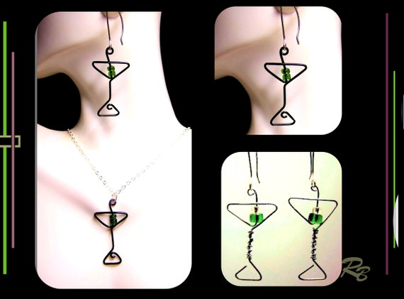 Martini gift, martini glass , earrings, dangle, bartendat gift, martini gift,
