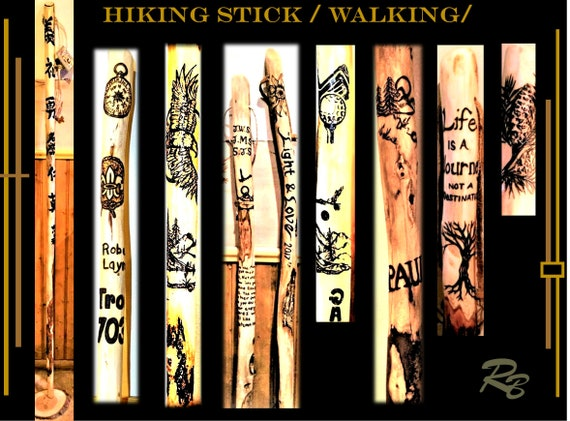 hiking stick,walking stick, cane, life is a journey, Any Images, Personalized, retirement gift, hikers gift,  wood. hiking