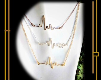 Nurse gift, heart beat necklace,give a gift to a Nurse, thank you for you service,breathe necklace,