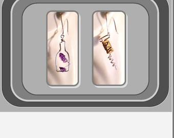 wine jewelry,grapes jewelry,wine lovers gift,wine jewelry,cork screw earrings,corkscrew jewelry,wine cork,bartender jewelry