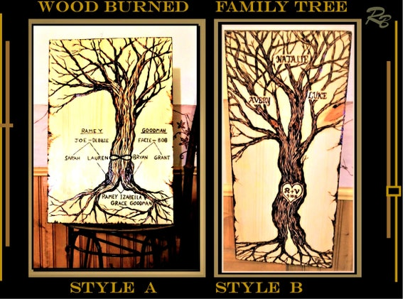 Mother gift, FAMILY Tree, Mothers day gift,  tree of life art,, wood burned art,