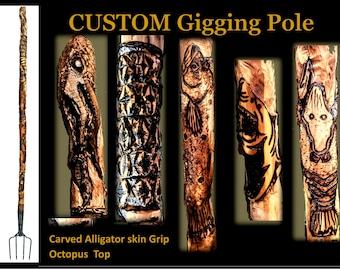 flounder gigging pole, gig pole, gigging, frog gigging, pole, carved, flounder fishing, custom, wood, personalized