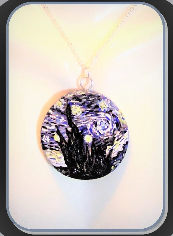 daughter gift, Starry Night, necklace, jewelry, gifts, Van gogh, Artist gift, wife gift, mother gift, Art lovers gift