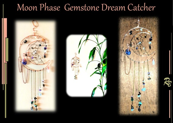 Suncatcher, DreamCatcher, dream catcher - Moon, Phase,  Wicca, pagan, Celestial, Gemstone,ceremony, mother gift,  decoration