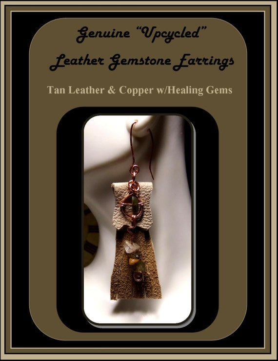 Copper,Leather Earrings, copper earrings,Genuine Leather Jewelry,Healing jewelry, aztec jewelry