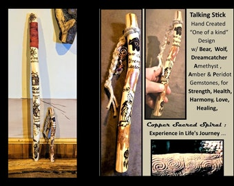 talking stick - Chief gift - Tribal Talking stick -  Indian tribe -  group talking - hiking stick, - retirement gift - recognition gift