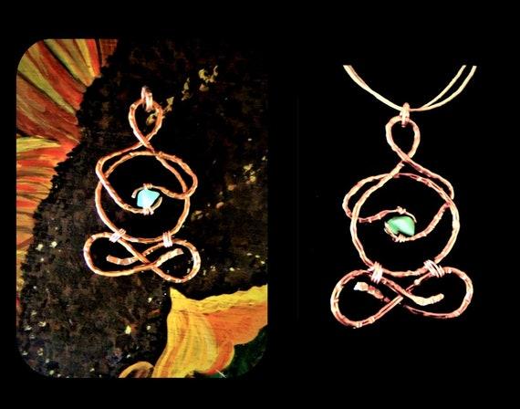 yoga gift - lotus jewelry -  lotus pose jewelry - Yogi - copper - jade- meditation jewelry - healing jewelry -  zen