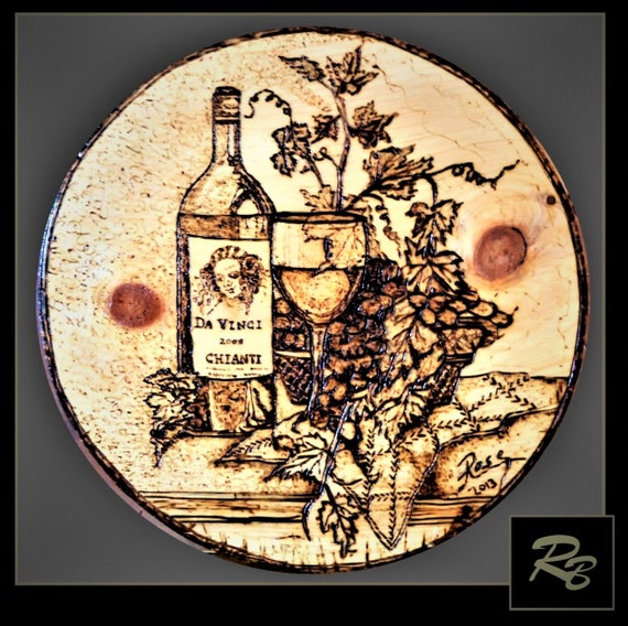 Custom Art, wood burned, wine, grapes, wife gift, boss gift, mother gift, daughter gife, wall art - wall hanging - wine art - kitchen art