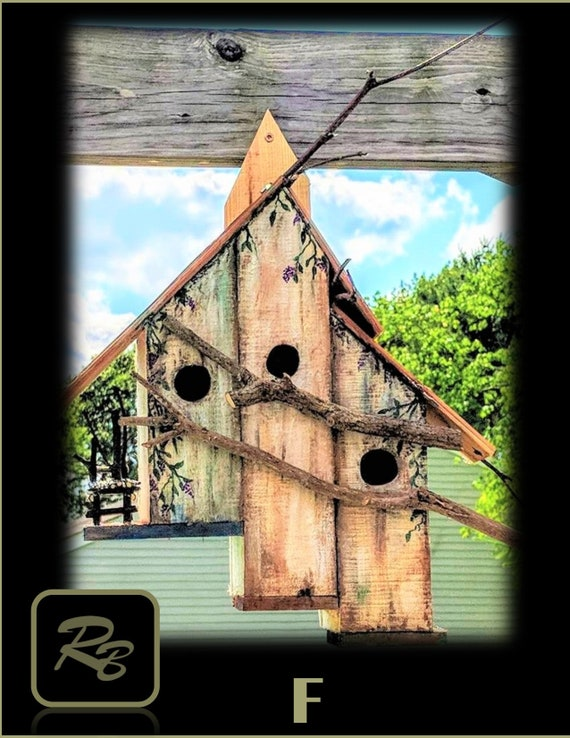 Triple ,bird condo, bird house , garden, decorations, mother, giftSunflower, sun flower, ,grandmother ,Frog,hobbit house,