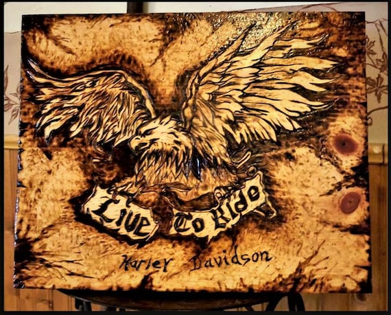 Harley, gift,  biker gift - biker wedding, eagle art, mens gifts, cabin decor,Skull art, art, sun moon, wood burned art,wall art