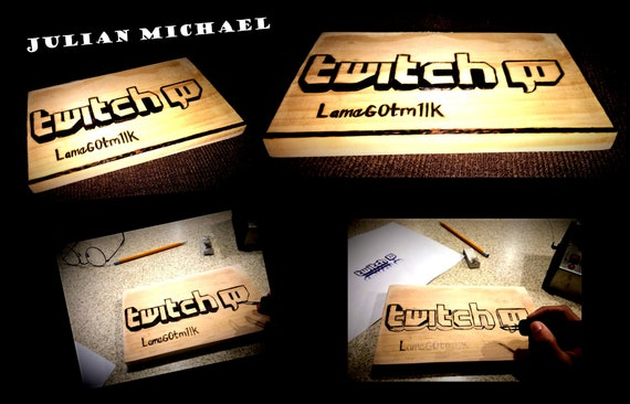 Twitch TV - fortnite - Sign - Art - Wood burned -