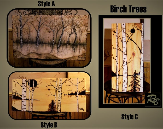 husband gift - wife gift- father gift - Rustic decor - rustic - trees - Cabin - Birch tree art - wood signs - birch trees