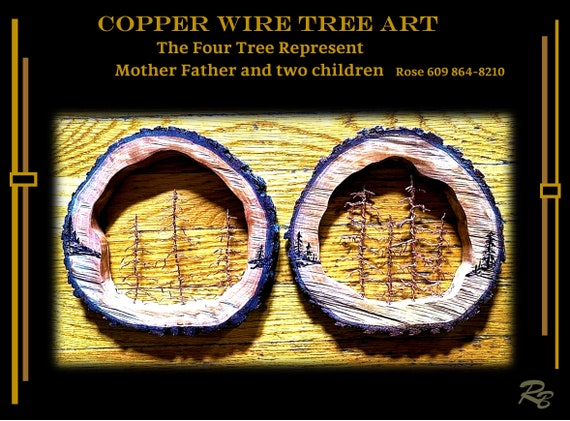 wife gift, mother gift, Family Trees,Copper, wire, tree art, Nature Art , Rustic decor,Trees, Tree lovers,five year, wood ,Anniversary gift,