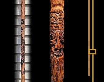 Thumb stick, walking stick, carved, old man, hiking stick, Retirement gift,