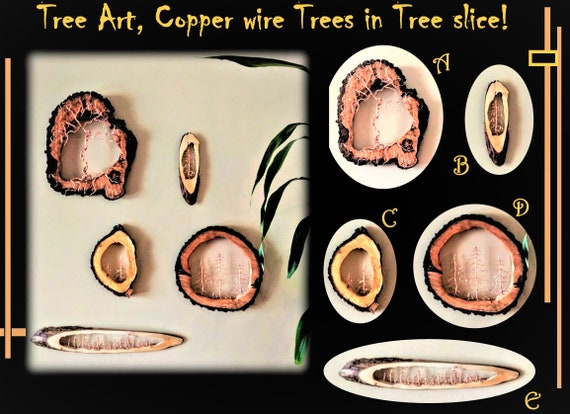 Christmas gift idead for men,Copper, Pine tree, Rustic decor,Trees,Original Art, Tree lovers,five year, wood ,Anniversary gift,