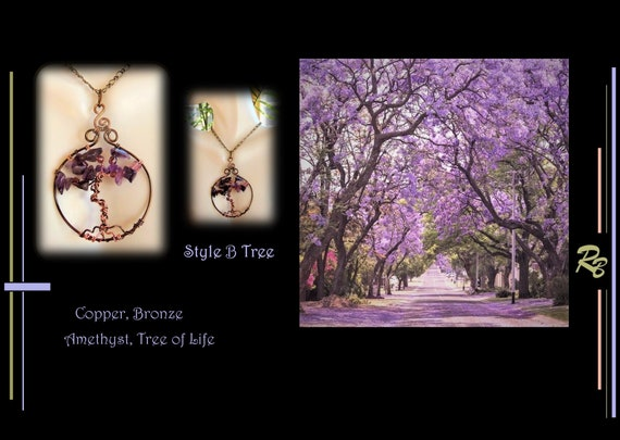 Tree Necklace, Amethyst, Copper, Tree of life, pendant, Wife gift, High Fashion Jewelry, Mother gift, Daughter gift,  Art jewelry, STATEMENT
