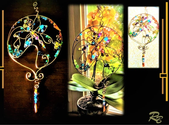 Deluxe, Suncatcher,  Gemstones, Crystals, Copper, sun catchers -Moon,   mystical feather, mother gift, window, art, garden, decoration
