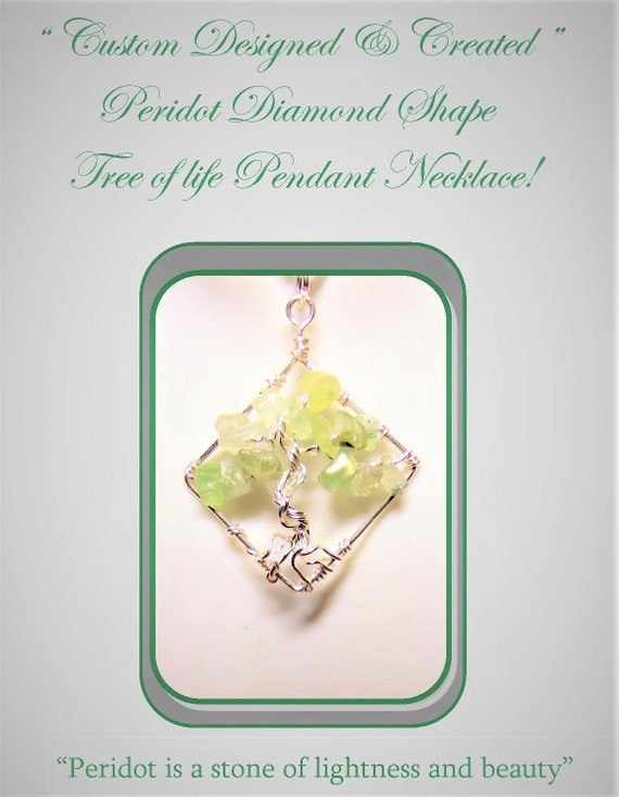 Peridot, Amethyst, jewelry, Heart, Balance, Healing, gemstone healing, spirit, light , love, Tree of Life, tree of life necklace,Per